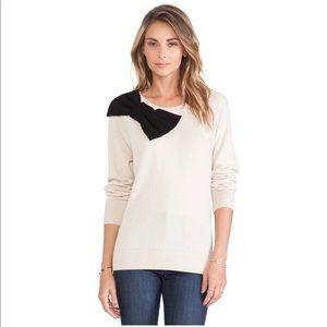 Kate Spade Slouchy Raglan Sweater Large Bow Beige